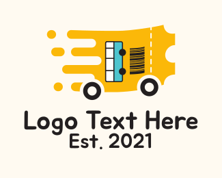 Transport - Bus Transport Ticket logo design