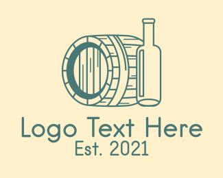 Vintage - Green Barrel Bottle logo design