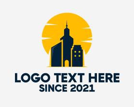 Real Estate - City Tower Sunset logo design