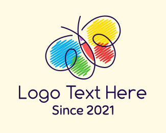 Nursery - Colorful Nursery Butterfly logo design