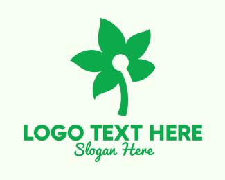 All Natural - Simple Green Flower  logo design