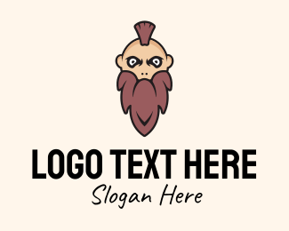 Mens Grooming - Mohawk Man Character  logo design