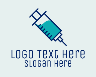Vaccination - Blue Vaccine Needle logo design