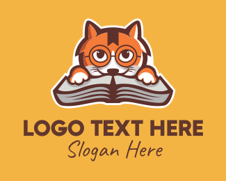 Learning - Cat Book Learning logo design