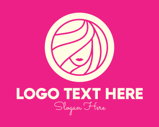 Hair Style - Pink Beautiful Aesthetic Woman logo design