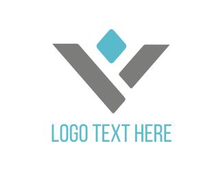 Gem - Blue Diamond Letter V logo design