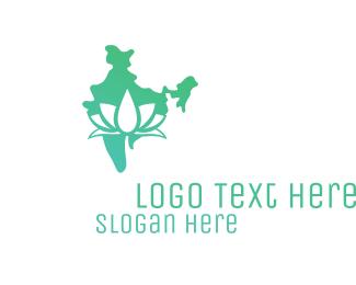 Buddhist - Green Indian Lotus logo design