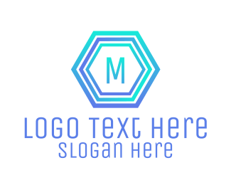 Solution - Blue Gradient Stroke Hexagon Lettermark logo design