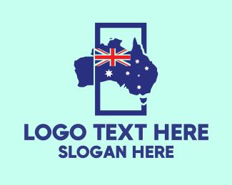 Australia Map - Australian Flag Map logo design