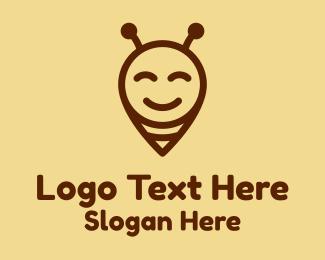 Bee Farm - Happy Bee Locator logo design