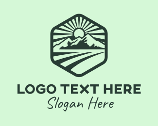 Travel - Green Mountain Landscape Sun logo design