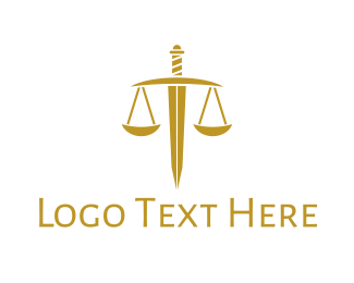 Sword - Gold Sword Scale logo design