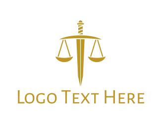 Sword - Gold Sword Scale logo design