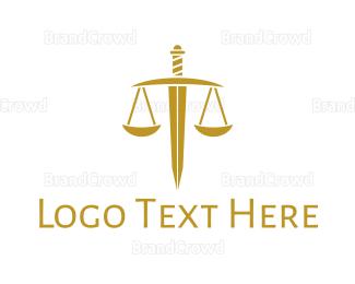 Equilibrium - Gold Sword Scale logo design