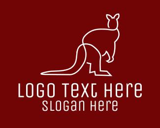 Outback - White Kangaroo Line Art logo design
