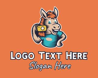 Photograph - Happy Horse Photographer Camera logo design