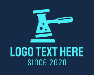 Bio Chem - Blue Gavel Flask  logo design
