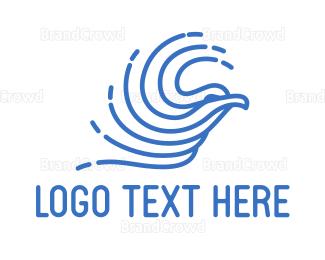 Abstract - Abstract Blue Bird  logo design