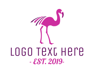 Flamingo - Pink Flamingo Bird logo design
