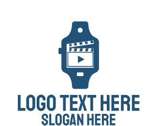 Smart Watch - Blue Clapperboard Movie Watch logo design