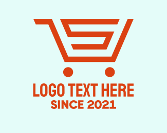 Grocery Store - Orange Grocery Cart Letter S logo design