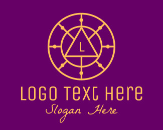 Spirituality - Gold Astrological Letter Circle logo design
