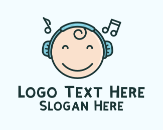 Online Learning - Baby Toddler Music Headphones logo design