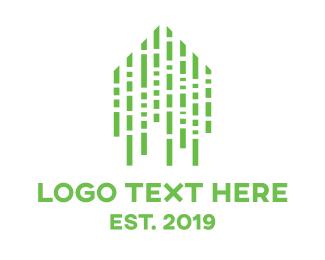 Binary - Green Matrix Home logo design