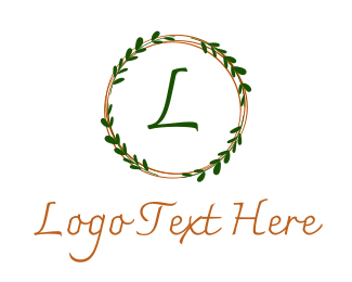 December - Christmas Wreath Lettermark logo design