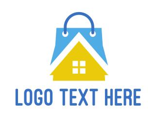 Shopping - House Shopping Bag logo design