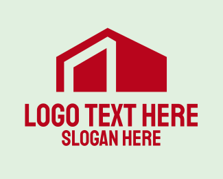 Pentagon - Minimal Red House logo design
