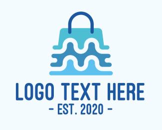 Mall - Blue Abstract Shopping Bag logo design
