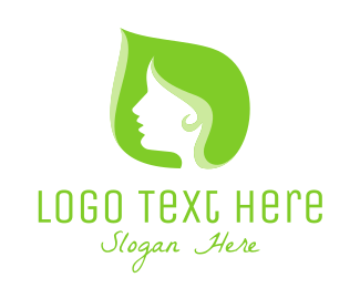 Green Leaf Woman Logo