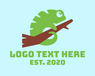 Iguana - Cute Green Chameleon logo design