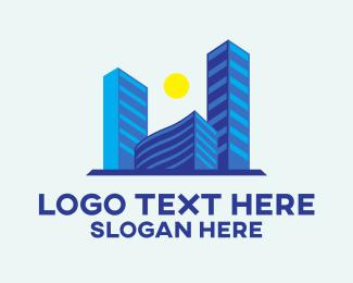 New York - Business Blue Buildings logo design