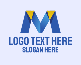 Text - Origami Letter M logo design