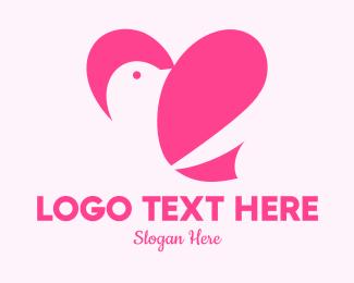 Love Birds - Pink Heart Dove logo design