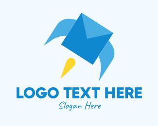 Shipment - Blue Envelope Rocket logo design