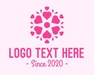 Mandala - Pink Love Heart Mandala logo design