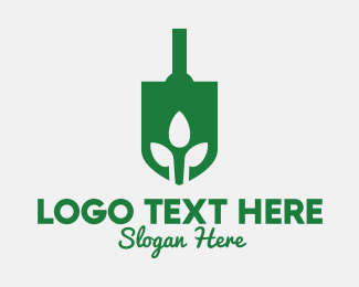 Home Garden - Green Garden Shovel Spade logo design