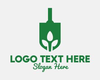 Shovel - Green Garden Shovel Spade logo design