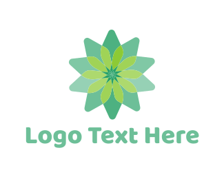 Petal - Simple Green Flower logo design