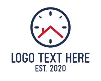 Timer - House Clock Time logo design