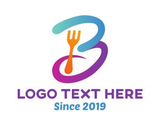 Curvy - Curvy Letter B Fork logo design