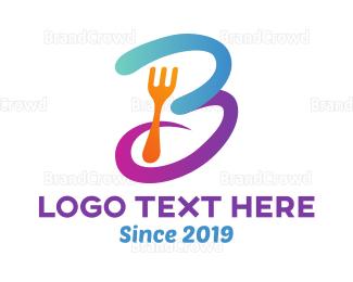 Letter B - Curvy Letter B Fork logo design