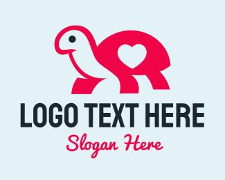 Girly - Pink Turtle Love Heart logo design