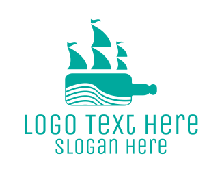 Expedition - Teal Bottle Ship logo design