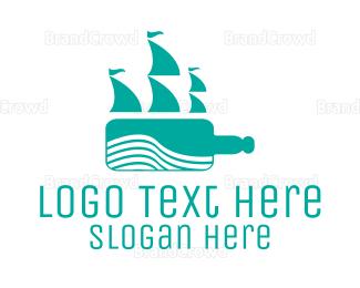 Current - Teal Bottle Ship logo design
