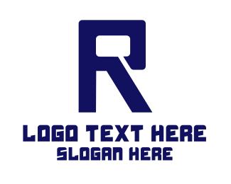 Hack - Black Digital Letter R logo design