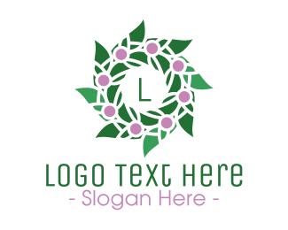 Lilac Bud Wreath Lettermark Logo